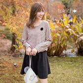 東京著衣-保暖刷毛腰鬆緊條紋長袖洋裝-S.M(172912)