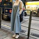 細肩帶 牛仔 吊帶裙 洋裝 長裙 背帶裙 牛仔裙 寬鬆 顯瘦 韓國 NXS