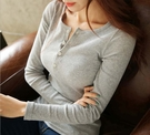 韓版  V領 純色 T恤 長袖 顯瘦  圓領 排扣 修身 上衣