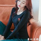 純棉長袖春秋新款打底衫黑色t恤女刺繡玫瑰修身上衣秋裝女潮 聖誕節全館免運