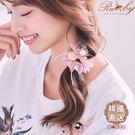髮飾 韓國直送蕾絲珍珠球蝴蝶結髮圈-紫色...