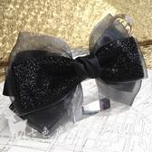 日韓手工黑色亮片頭花頭飾發卡夾發飾品大蝴蝶結頂夾彈簧夾 居享優品
