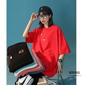 短袖T恤女夏季半袖設計感小眾港味韓風上衣【聚物優品】