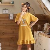 夏季純棉女士睡衣甜美少女中袖睡裙韓版寬鬆大碼全棉   『歐韓流行館』