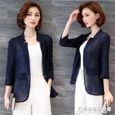 新款女裝韓版春夏薄款棉麻開衫亞麻休閒小西裝短款小西服外套 時尚芭莎