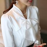 真絲上衣 白色蝴蝶結襯衫女裝長袖春秋雪紡上衣緞面洋氣真絲襯衣-Ballet朵朵