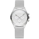 【台南 時代鐘錶 TAYROC】英國簡約現代風 GLACIER三眼計時腕錶 TXM011M 米蘭帶 白/銀 42mm