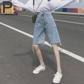 闊腿寬鬆直筒高腰牛仔五分短褲女士夏季2020新款顯瘦百搭中褲褲子 韓國時尚週