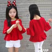 2020夏季女童純棉短袖T恤喇叭中袖娃娃衫韓版兒童寶寶上衣親子裝 Korea時尚記