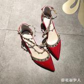 粗跟高跟鞋夏尖頭粗跟單鞋女淺口鉚釘柳丁歐美風高跟鞋裸色仙女中空涼鞋 PA8066『棉花糖伊人』