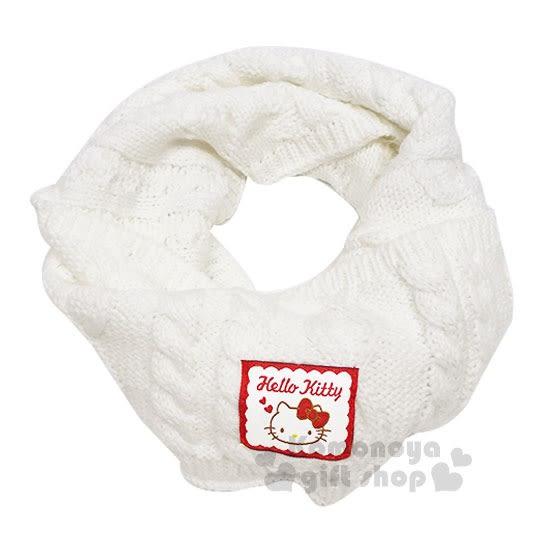 〔小禮堂〕Hello Kitty 兒童針織保暖圍巾《白.大臉》脖圍.2018溫暖禦冬系列 4901610-84580