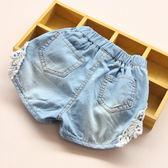 寶寶牛仔短褲女 2019夏裝韓版新款女童童裝兒童蕾絲熱褲子kz-6490嬡孕哺