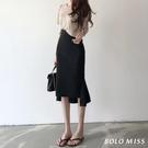 魚尾裙 黑色高腰魚尾裙包臀裙夏季復古中長款一步裙開叉顯瘦半身裙女-Ballet朵朵