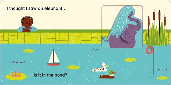 【麥克書店】I THOUGHT I SAW AN ELEPHANT/硬頁書《郊外/公園/遊戲區》