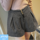 【V0389】shiny藍格子-簡著實搭.時尚修身顯瘦毛呢闊腿短靴褲