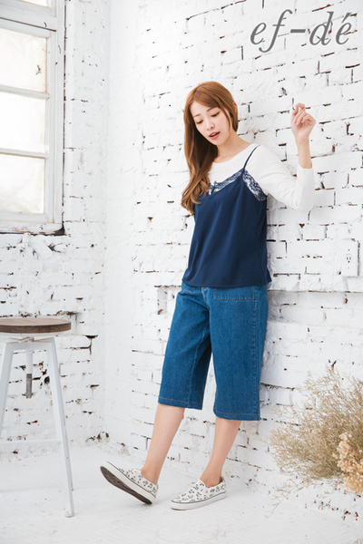 【ef-de】優雅蕾絲領吊帶背心(黑/灰/粉紅/深藍)