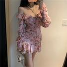 皺褶雪紡碎花連衣裙長袖2021春夏韓版V領荷葉魚尾裙森女包臀短裙 快速出貨