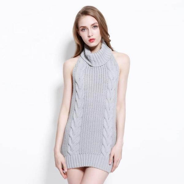 情趣衣服 秋冬季性感露背情趣毛衣女高領無袖針織套頭同款推薦