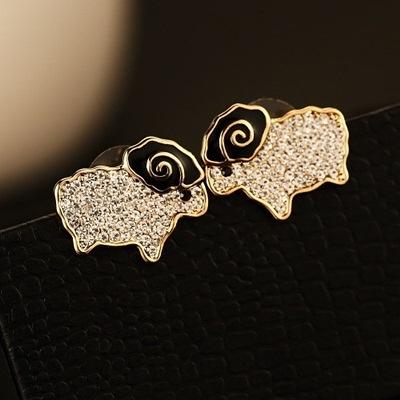 耳環 玫瑰金純銀鑲鑽-可愛小羊生日情人節禮物女飾品2色73ca269【時尚巴黎】