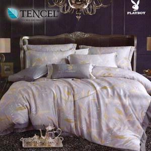 【貝兒寢飾】PLAYBOY 60支萊賽爾天絲兩用被床包+刺繡抱枕五件組(加大/金枝細