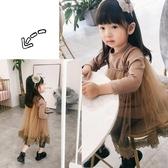 童裝女寶寶秋季洋氣1-3歲韓版長袖T恤星星吊帶網紗蕾絲女童兩件套 居享優品
