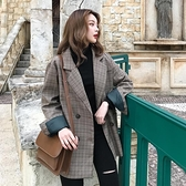格子西裝外套女韓版寬鬆復古西服韓版上衣【少女顏究院】