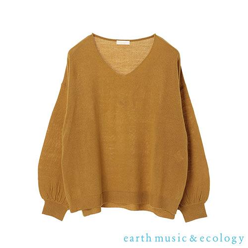 「Hot item」定番素面側開衩V領針織衫 - earth music&ecology