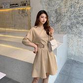 洋裝 韓國風復古修身收腰繫帶顯瘦圓領長袖連身裙 花漾小姐【預購】