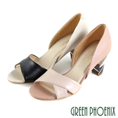 U33-21902 女款全真皮魚口高跟鞋  線條拼接木質紋幾何圖形全真皮魚口高跟鞋【GREEN PHOENIX】
