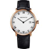 AEROWATCH Heritage系列尊爵時尚石英腕錶-白x全玫塊金框x黑/40mm A21976RO01