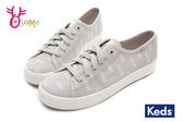 Keds KICKSTART 帆布鞋 女款 森林刺繡綁帶休閒鞋 I9802#灰色◆OSOME奧森童鞋