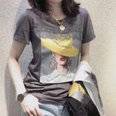蕾絲上衣 歐洲站短袖t恤女2020新款夏裝時尚寬鬆蕾絲拼接印花純棉歐貨上衣 寶貝計書