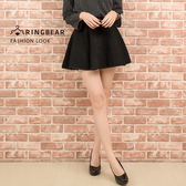 短裙--優雅氣質小女人風格顯瘦寬版鬆緊帶毛氈荷葉圓裙(黑M-5L)-Q91眼圈熊中大尺碼