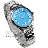 Daniel Wang 立體數字時刻腕錶 防水手錶 女錶 鋼錶帶款 藍色 數字錶 DW3166藍