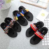 人字拖女夏季韓版舒適防滑夾腳拖手工民族風沙灘拖鞋平跟涼鞋海邊