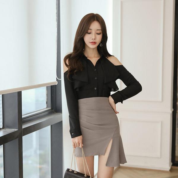 VK旗艦店 韓系名媛黑上衣不規則半身裙套裝長袖裙裝