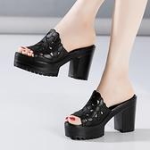 魚口鞋 2021夏涼拖鞋女鬆糕厚底防水臺魚嘴百搭時尚外穿大碼粗跟高跟拖鞋