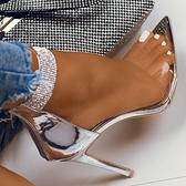 歐美水鉆尖頭涼鞋 大碼露趾后拉鏈高跟鞋女 夜店舞臺表演高跟鞋