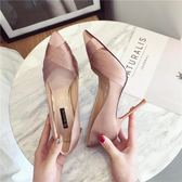 高跟鞋 少女小清新超高跟鞋細跟尖頭百搭時尚黑色單鞋 巴黎春天