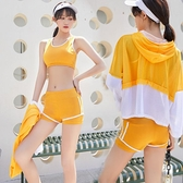 防曬泳衣女分體平角運動三件套韓國INS保守遮肚顯瘦學生長袖泳裝