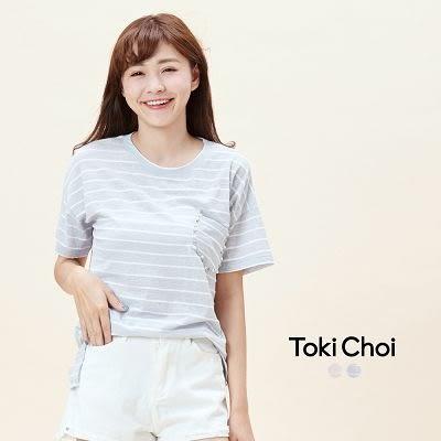 東京著衣-口袋綴珠條紋短袖上衣(6017056)