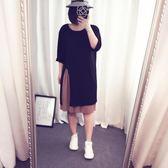 快速出貨 中大尺碼女裝開叉中長款直筒裙胖mm顯瘦圓領長袖連身裙【252】