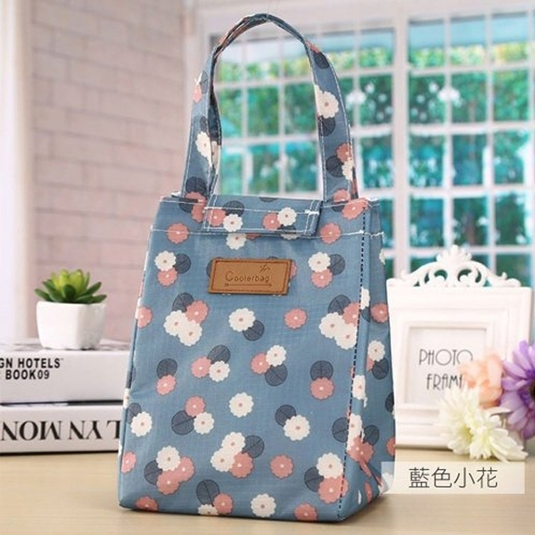 麋貳屋 造型時尚手提野餐袋-藍色小花