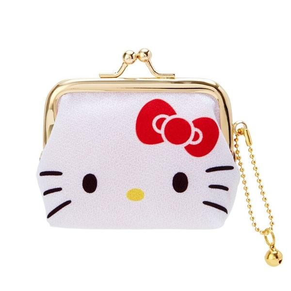 小禮堂 Hello Kitty 絲質口金零錢包 掛飾零錢包 口金包 耳機包 (紅白 大臉) 4550337-76048