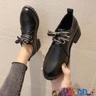 皮鞋 黑色小皮鞋女英倫風2021秋冬新款百搭高跟工作單鞋加絨jk制服日系寶貝計畫 上新