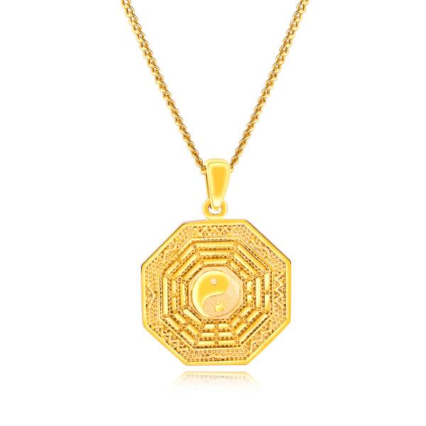 《 QBOX 》FASHION 飾品【C100N690】 精緻民族風八卦陰陽太極鍍黃K金墬子項鍊