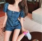 VK精品服飾 韓國風方領高腰顯瘦短款一字領牛仔單品連身褲