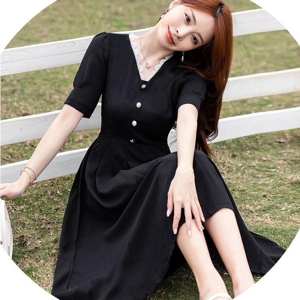 白色花邊領黑色長洋裝[99170-QF]美之札