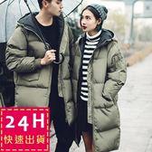 梨卡★小中大尺碼M-3XL情侶款羽絨棉外套大衣100%正韓代購中長版外套A817-1