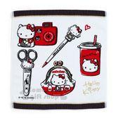 〔小禮堂〕Hello Kitty Action 棉質方形毛巾方巾《黑白》70 s復古手稿系列 4901610-13689